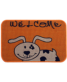 Saral Home Premium Quality Jute Mat Cow Design - Orange