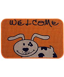 Saral Home Premium Quality Jute Mat Cow Design - Orange