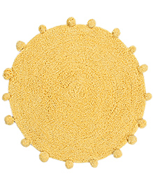 Saral Home Premium Quality Bath Mat Round Shape - Yellow