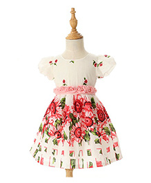 Peach Giirl Floral Dress - White & Red