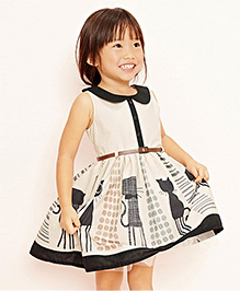 Peach Giirl Kitty Dress - Beige