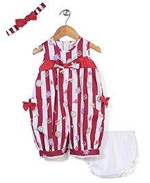 Nena Anchor Print Romper Headband & Bloomer Set - Red