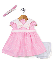 Nena Sailor Neck Anchor Printed Frock With Bloomer & Head Band - Pink