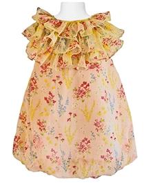 Faye -  Lime Chiffon Ruffle Dress