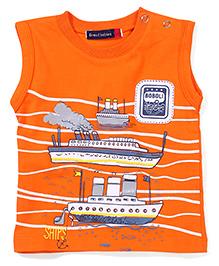 Great Babies Ship Print T-Shirt - Orange