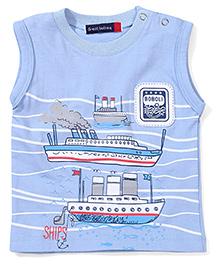Great Babies Ship Print T-Shirt - Blue