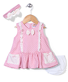 Nena Polka Dot Print Dress With Bloomer - Pink