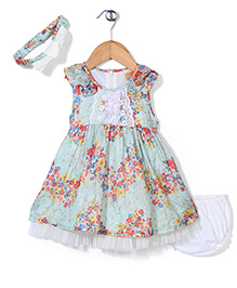 Nena Floral Print Dress With Bloomer - Light Green