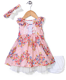 Nena Floral Print Dress With Bloomer - Pink