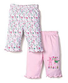 Babyhug Full Length Leggings Set of 2 - Pink White