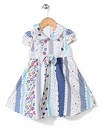 Nena Flower Print Dress With Bow - Multicolour