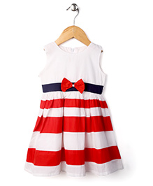 Babyhug Sleeveless Striped Pattern Frock Bow Applique - Red & White