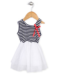 Babyhug Sleeveless Frock Stripes Print - White and Navy
