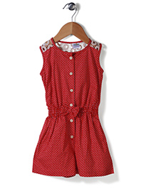 Babyhug Sleeveless Jumpsuit Bow Applique - Red