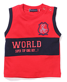 Great Babies World Print T-Shirt With Sholuder Buttons - Red