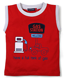 Great Babies Gas Station Welcome Print T-Shirt - Red
