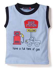 Great Babies Gas Station Welcome Print T-Shirt - Blue