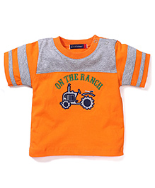Great Babies On The Ranch Print T-Shirt With Shoulder Buttons - Orange