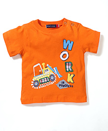 Great Babies Work Print T-Shirt With Shoulder Buttons - Orange