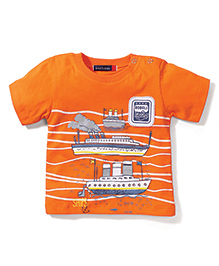 Great Babies Ship Print T-Shirt With Shoulder Buttons - Orange