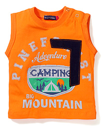 Great Babies Printed T-Shirt With Shoulder Button - Orange