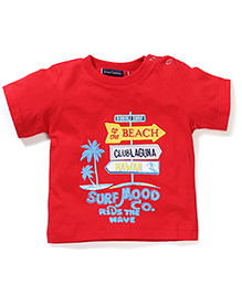 Great Babies Beach Print T-Shirt With Shoulder Button - Red