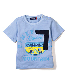 Great Babies Printed T-Shirt With Shoulder Button - Blue