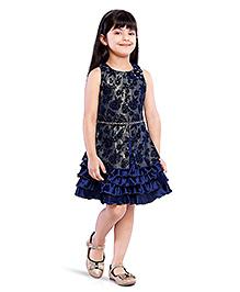 Tiny Baby Sleeveless Dress With Frills Hem - Blue