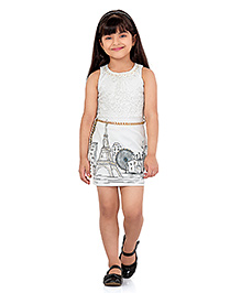 Tiny Baby Sleeveless Printed Dress - Cream