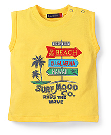 Great Babies Printed T-Shirt With Shoulder Button - Yellow