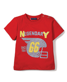 Great Babies Printed T-Shirt With Shoulder Button - Red