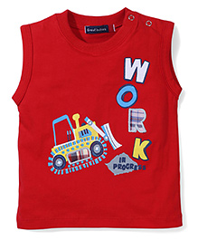 Great Babies Printed T-Shirt With Shoulder Buttons - Red