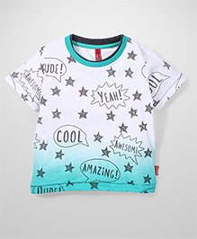 Spark Half Sleeves T-Shirt Stars Print - White Green