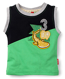 Spark Sleeveless T-Shirt Whale Patch - Green Black