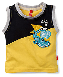 Spark Sleeveless T-Shirt Whale Patch - Yellow Black