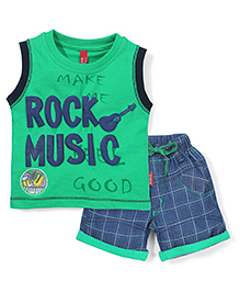 Spark Sleeveless T-Shirt and Shorts Set Rock Music Print - Green Blue