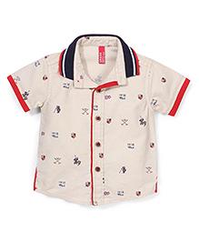 Spark Half Sleeves Shirt 1918 Club Print - Off White