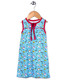 Red Rose Hello Kitty Printed Nighty - Teal Blue