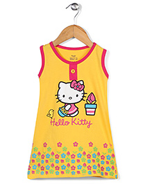 Hello Kitty Sleeveless Nighty Kitty Print - Yellow