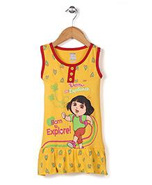 Dora Printed Sleeveless Full Length Nighty - Yellow