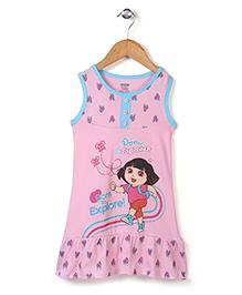 Dora Printed Sleeveless Full Length Nighty - Pink