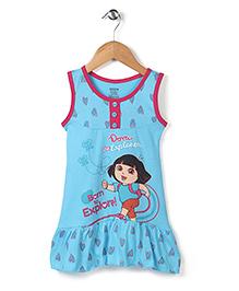 Dora Printed Sleeveless Full Length Nighty - Blue