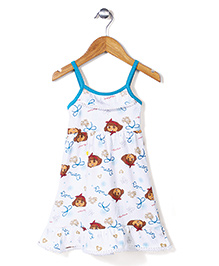 Dora Printed Singlet Full Length Nighty - White and Blue