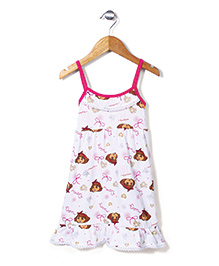 Dora Printed Singlet Full Length Nighty - White and Pink