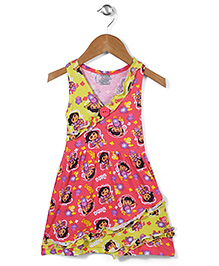 Dora Printed Sleevelss Full Length Nighty - Yellow Pink