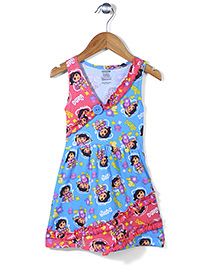 Dora Printed Sleevelss Full Length Nighty - Blue Pink