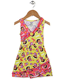 Dora Printed Sleevelss Full Length Nighty - Yellow Pink