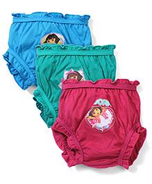 Dora Printed Bloomers Pack of 3 - Blue Green Fuchsia