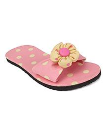 De Berry Dot Print Flower Slippers - Pink