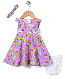 De Berry Floral Print Dress With Bloomer & Headband - Purple